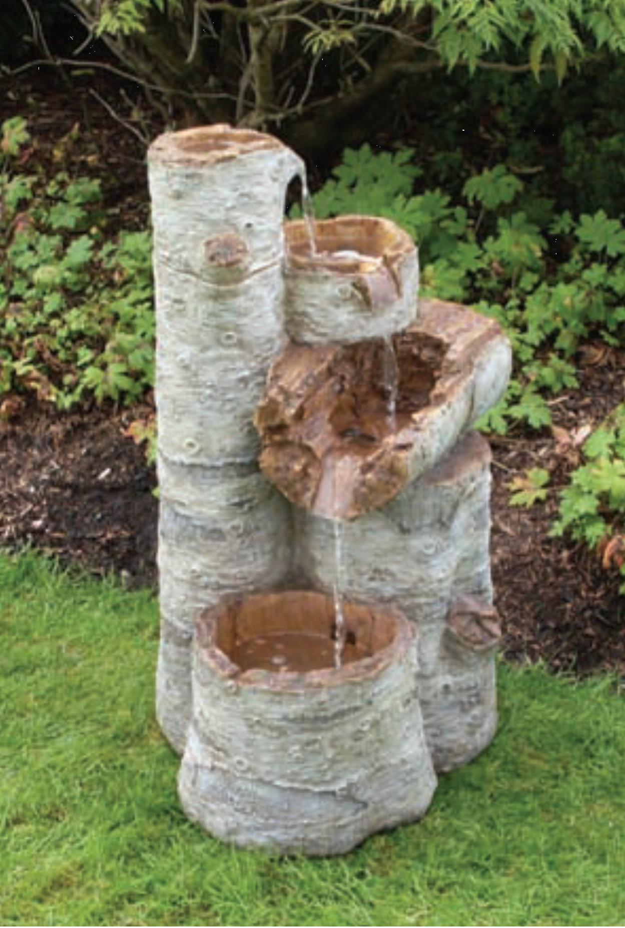 Baumstamm Kaskadenbrunnen mit Beleuchtung - groß