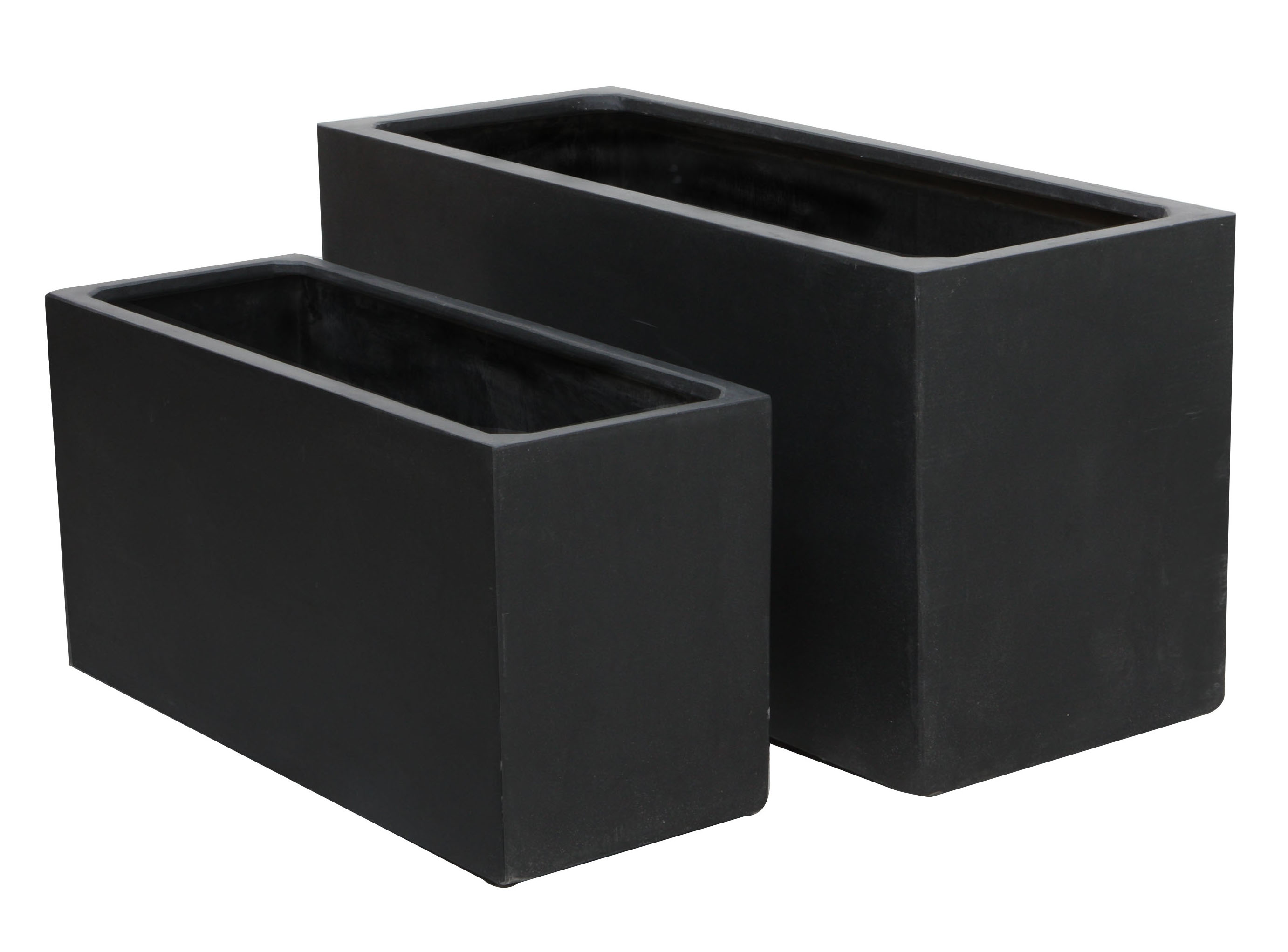 hoher blumenkasten in schwarz aus polystone gro. Black Bedroom Furniture Sets. Home Design Ideas