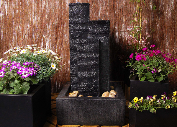 Three Column Resin Water Feature With LED Lights