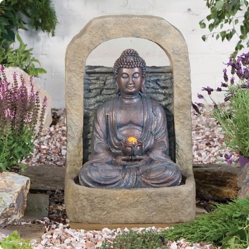buddha brunnen mit lotusbl te und beleuchtung. Black Bedroom Furniture Sets. Home Design Ideas