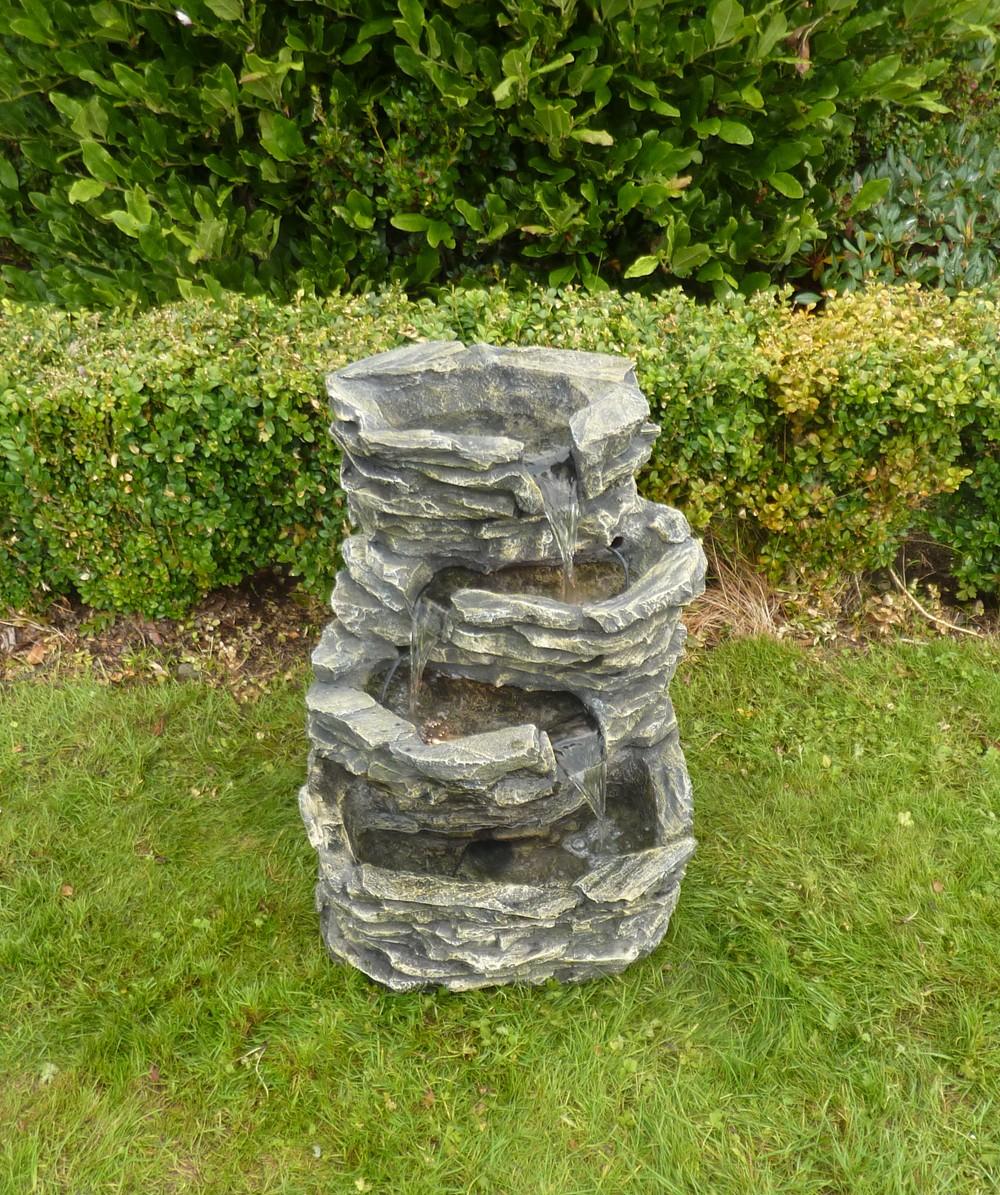 4 st ckiger gartenbrunnen mit beleuchtung. Black Bedroom Furniture Sets. Home Design Ideas