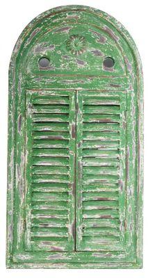 rustikaler gartenspiegel mit fensterl den aus holz in gr n. Black Bedroom Furniture Sets. Home Design Ideas