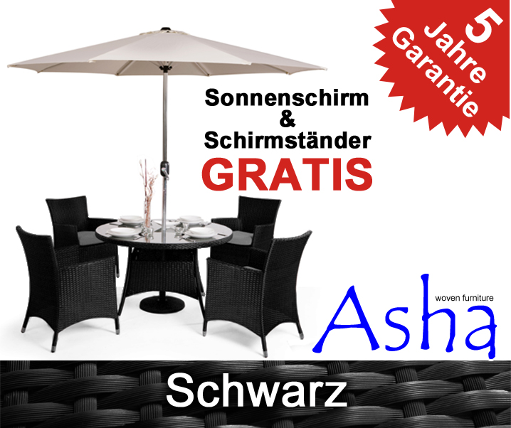 asha runder gartentisch mit 4 st hlen und sonnenschirm in. Black Bedroom Furniture Sets. Home Design Ideas