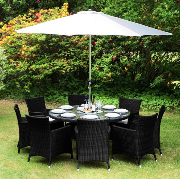 ashatm quothenleyquot gartengarnitur mit sonnenschirm schwarz With französischer balkon mit gartentisch loch sonnenschirm