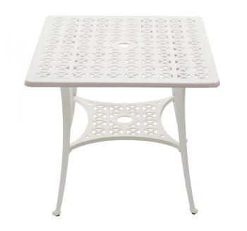 alium washington quadratischer gartentisch in wei mit 4 st hlen aus aluminiumguss 449 99. Black Bedroom Furniture Sets. Home Design Ideas