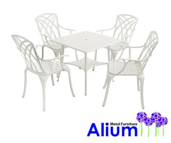 alium washington quadratischer gartentisch in wei mit 4 st hlen aus aluminiumguss 449 99. Black Bedroom Furniture Sets. Home Design Ideas