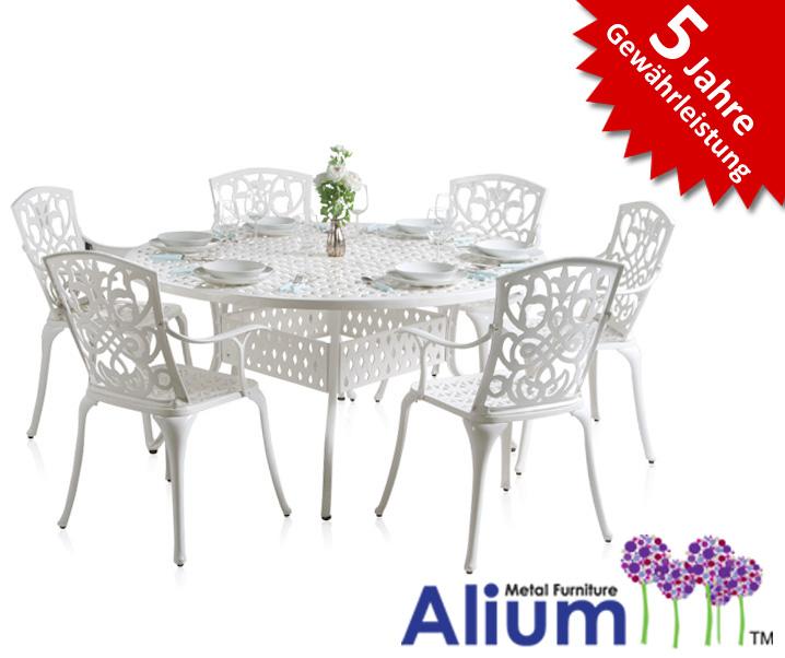 """Alium """"Cleveland"""" runder Gartentisch in Weiß mit 6 Stühlen"""
