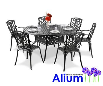 alium cleveland runder gartentisch in schwarz mit 6 st hlen aus aluminiumguss 859 99. Black Bedroom Furniture Sets. Home Design Ideas