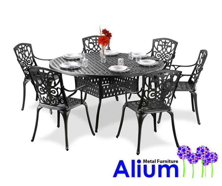 alium cleveland runder gartentisch in schwarz mit 6. Black Bedroom Furniture Sets. Home Design Ideas
