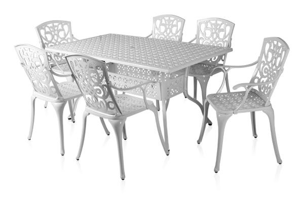 alium cleveland rechteckiger gartentisch in wei mit 6. Black Bedroom Furniture Sets. Home Design Ideas