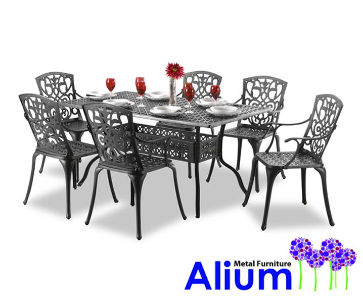 alium cleveland rechteckiger gartentisch in schwarz mit 6 st hlen aus aluminiumguss 729 99. Black Bedroom Furniture Sets. Home Design Ideas