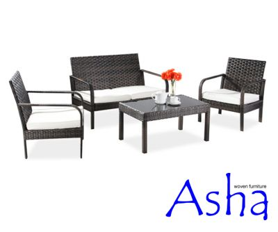 asha rattan gartenm bel set villa braun 389 99. Black Bedroom Furniture Sets. Home Design Ideas
