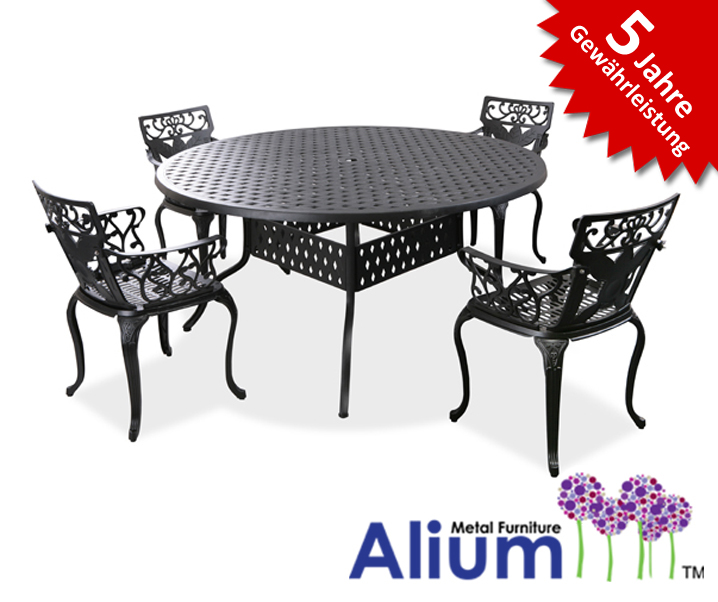alium lincoln runder gartentisch in schwarz mit 4 st hlen 679 99. Black Bedroom Furniture Sets. Home Design Ideas