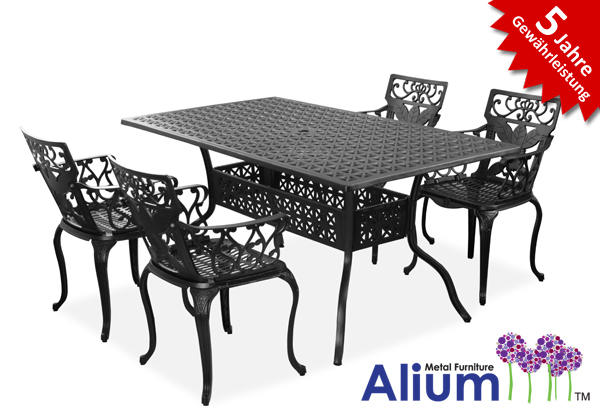 alium lincoln rechteckiger gartentisch in schwarz mit 4. Black Bedroom Furniture Sets. Home Design Ideas