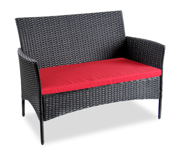 Gartenmobel Bank Mit Tisch : Arboro™ Rattan GartenmöbelSet Langtry mit roten Sitzkissen