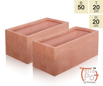 Blumenkasten in terracotta optik 2er set 50cm x 20cm x for Garten planen mit pflanzkübel 50 x 50 cm
