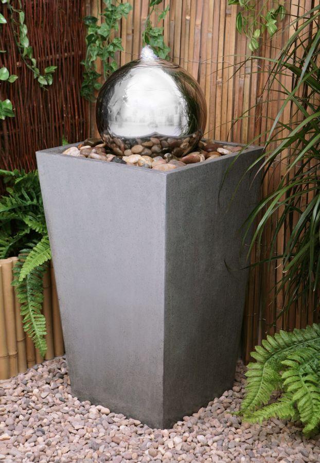 kegelf rmiger edelstahlbrunnen mit kugel und led beleuchtung 179 99. Black Bedroom Furniture Sets. Home Design Ideas