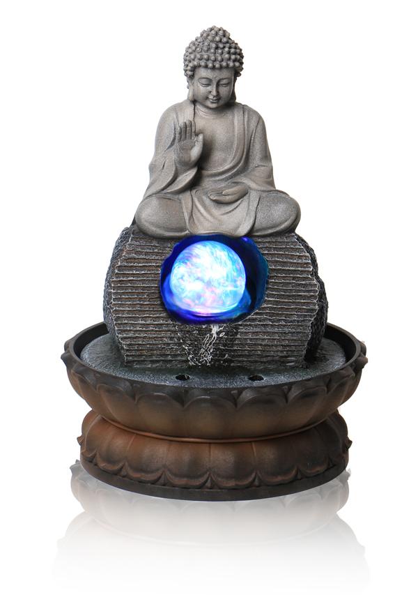 tischbrunnen buddha mit drehender kugel und beleuchtung. Black Bedroom Furniture Sets. Home Design Ideas