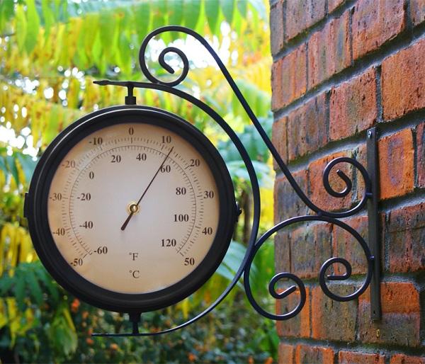 bahnhofs uhr mit thermometer wand garten uhren au en f r drau en terrasse ebay. Black Bedroom Furniture Sets. Home Design Ideas