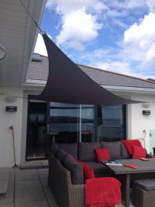 kookaburra 4 2m x 4 2m x 6 0m rechtwinkliges dreieck anthrazit gewebtes sonnensegel wasserfest. Black Bedroom Furniture Sets. Home Design Ideas