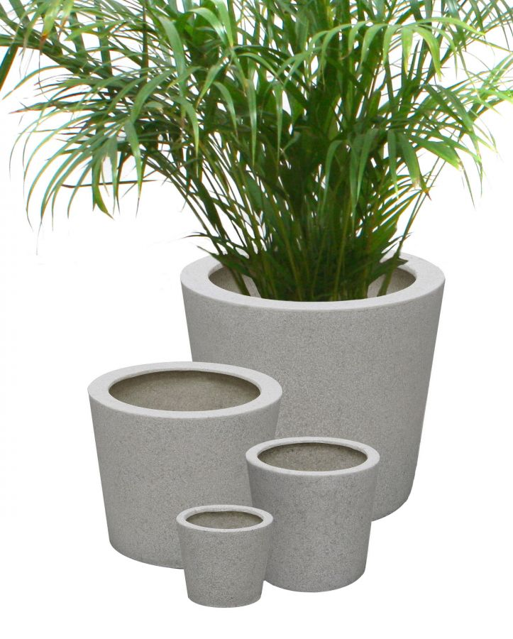 runder bertopf aus polyterrazzo in wei gro 139 99. Black Bedroom Furniture Sets. Home Design Ideas
