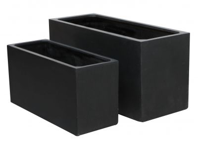 hoher blumenkasten in schwarz aus polystone klein 234 99. Black Bedroom Furniture Sets. Home Design Ideas
