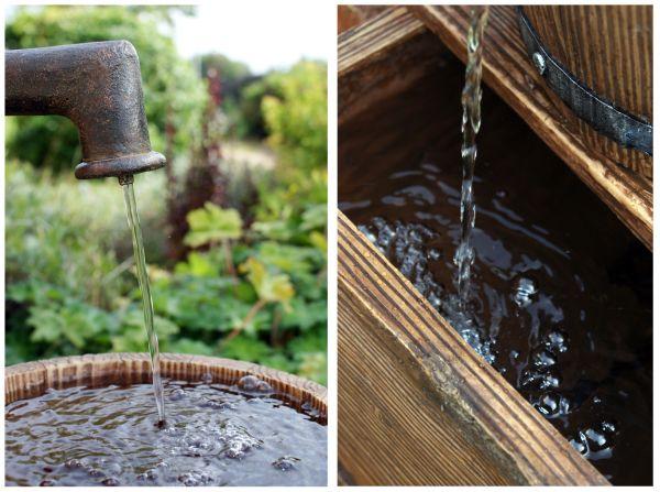 handpumpe und fass brunnen mit beleuchtung wasser spiel garten spring zier ebay. Black Bedroom Furniture Sets. Home Design Ideas