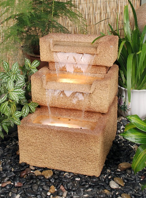 3 stufen brunnen mit sandstein effekt 209 99. Black Bedroom Furniture Sets. Home Design Ideas