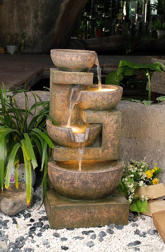4 granit kupfer schalenbrunnen mit beleuchtung 344 99 - Gartendekoration kupfer ...