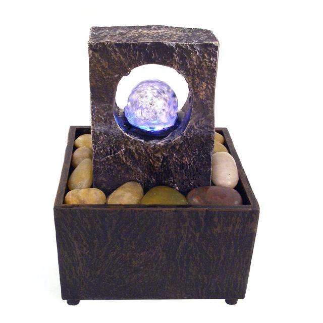 batteriebetriebener tischbrunnen lichtblick mit led. Black Bedroom Furniture Sets. Home Design Ideas