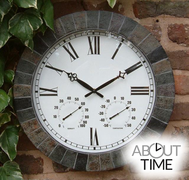 Große Schiefer Gartenuhr, 45cm  About Time™