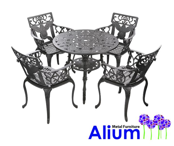 Runder Gartentisch mit 4 Stühlen in Gussaluminium, Schwarz - Madrid