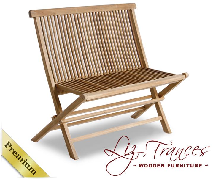 1m 39 eton 39 klappbare zweisitzer bank aus teakholz von liz frances 119 99. Black Bedroom Furniture Sets. Home Design Ideas
