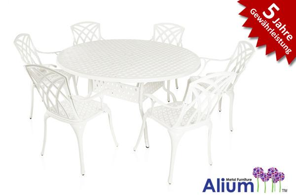 Alium Washington Runder Gartentisch In Weiss Mit 6 Stuhlen 799 99