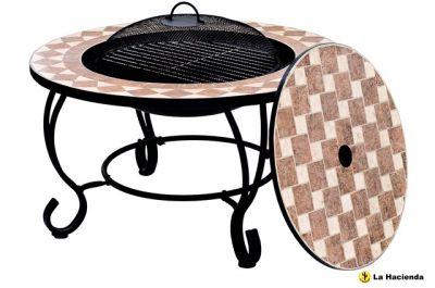 feuerschale mit mosaik grill und tisch 129 99. Black Bedroom Furniture Sets. Home Design Ideas