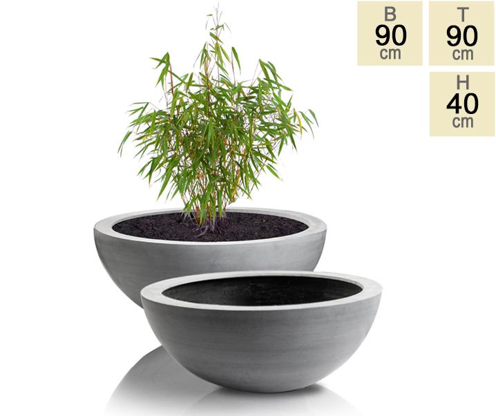 lismore flache runde bert pfe aus polystone in grau 2er set durchmesser 90cm 639 99. Black Bedroom Furniture Sets. Home Design Ideas