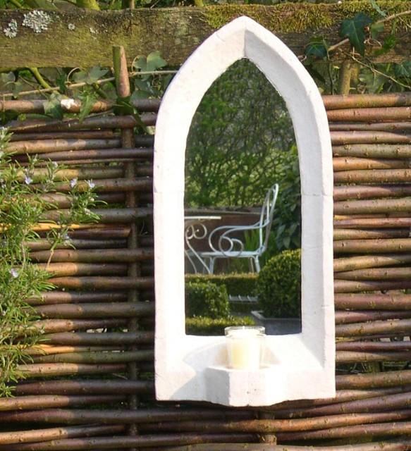 gotischer gartenspiegel aus echtglas 53cm x 25cm 119 99. Black Bedroom Furniture Sets. Home Design Ideas