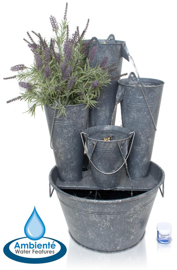ambient bepflanzbarer kaskadenbrunnen borelli aus zink. Black Bedroom Furniture Sets. Home Design Ideas