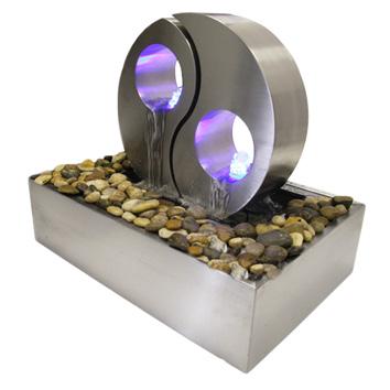 edelstahlbrunnen yin yang mit blauer led beleuchtung 339 99. Black Bedroom Furniture Sets. Home Design Ideas