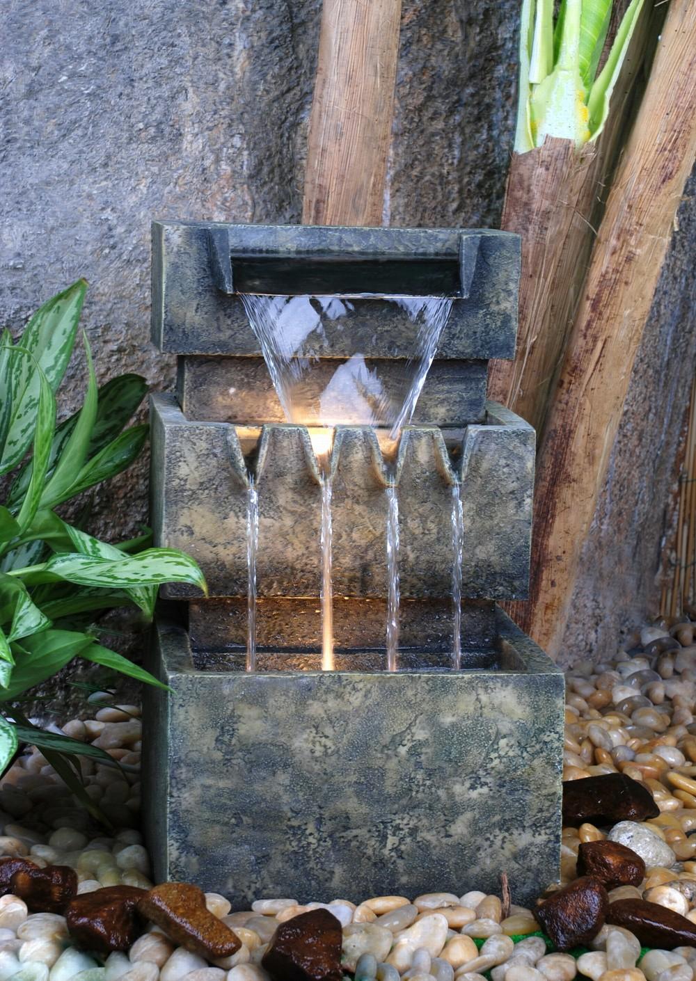 3 st ckiger kaskadenbrunnen mit beleuchtung 50 5cm 169 99. Black Bedroom Furniture Sets. Home Design Ideas