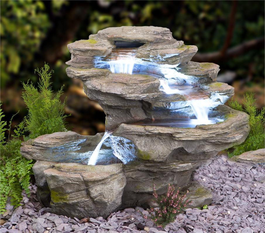 Gartenbrunnen ogen river leap mit led beleuchtung 65cm for Laghetto resina