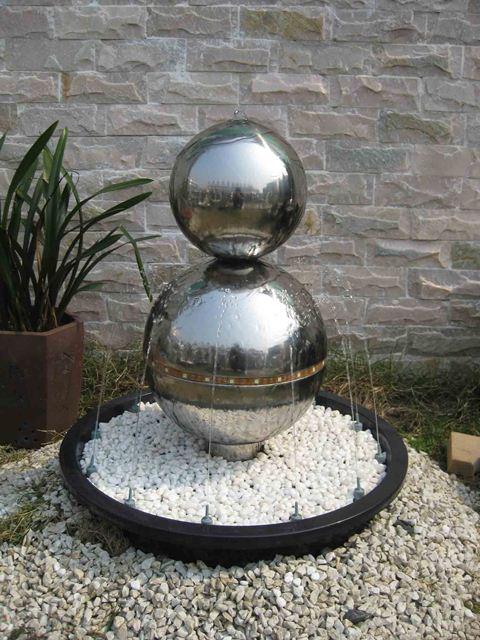 brussels 2 kugeln edelstahlbrunnen mit led beleuchtung 319 99. Black Bedroom Furniture Sets. Home Design Ideas