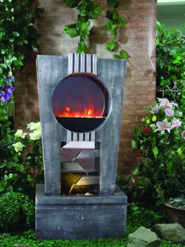 gartenbrunnen feuer und wasser mit led beleuchtung 259 99. Black Bedroom Furniture Sets. Home Design Ideas