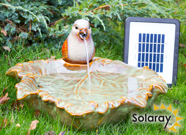 solaray solarbrunnen kleiner spatz aus keramik 69 99. Black Bedroom Furniture Sets. Home Design Ideas