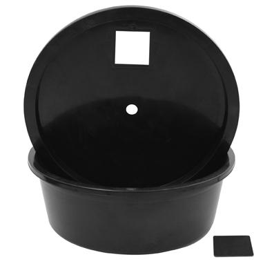 rundes plastik reservoir mit deckel und eingriff 124 99. Black Bedroom Furniture Sets. Home Design Ideas
