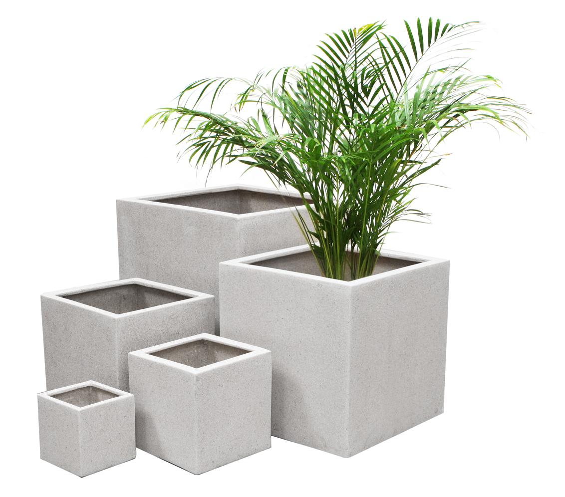 quadratischer bertopf aus polyterrazzo in wei gro 124 99. Black Bedroom Furniture Sets. Home Design Ideas