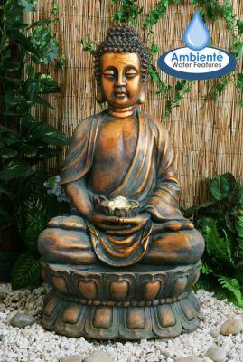 Buddha Brunnen Mit LED Beleuchtung Und Sich Drehender Kugel