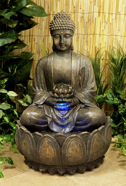 Beleuchteter Buddha Brunnen Mit Blute