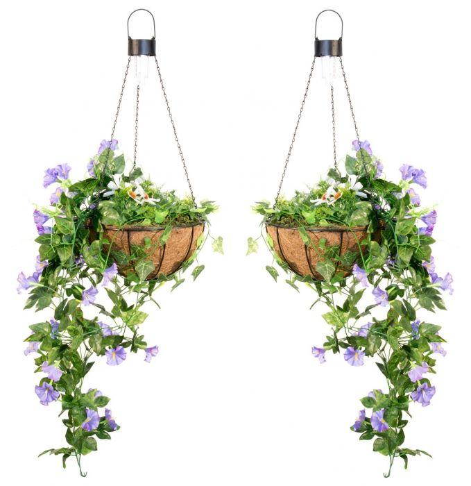 2er-Set Hängekorb / Blumenampel aus Kunststoff mit Solarleuchten, Duranta,  26cm, Primrose™