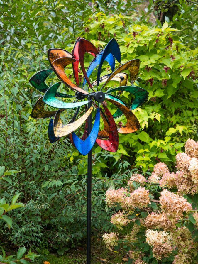 190cm windrad windspiel regenbogen mit led beleuchtung for Windspiel edelstahl garten